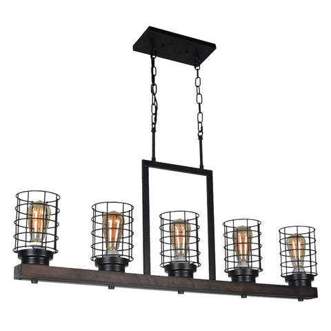 Farmhouse Kitchen Island Lighting, Metal and Wood Rustic Chandelier