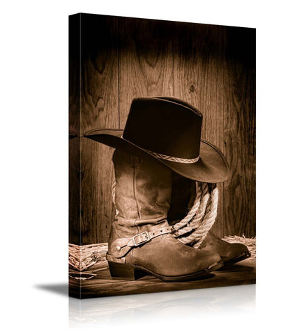 "Cowboy Black Hat atop Western Boots - Canvas Art Wall Decor - 16""x24"""