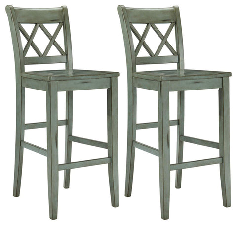 Rustic Bar Stool Pub Height Vintage Casual Style Set of 2 Blue