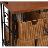 Baker's Rack with 4 Brown Wicker Basket Drawers