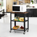 Rustic Kitchen Serving Cart 3-Tier Utility Wheels