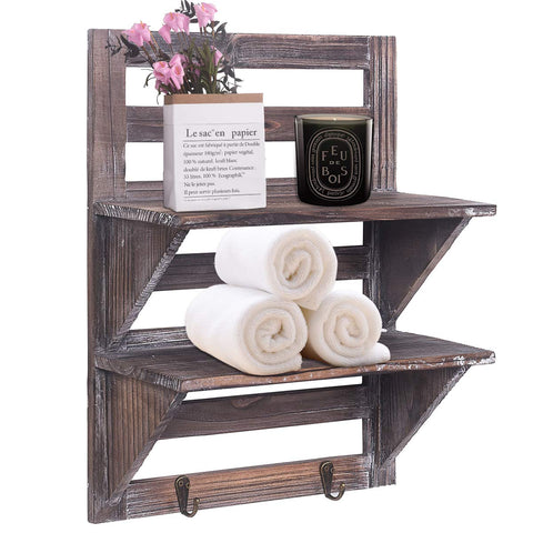 Rustic Shelves Wood Wall Mounted 2 Hooks 2-Tier
