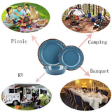 Melamine Camping Dinnerware Set Country Blue