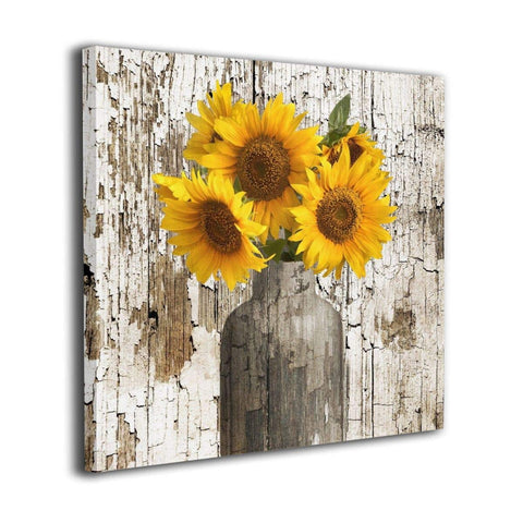 Rustic Floral Country Farmhouse Sunflower Canvas Artwork