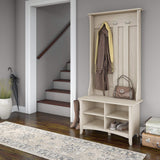 Rustic Country Hall Tree with Storage Bench in Antique White