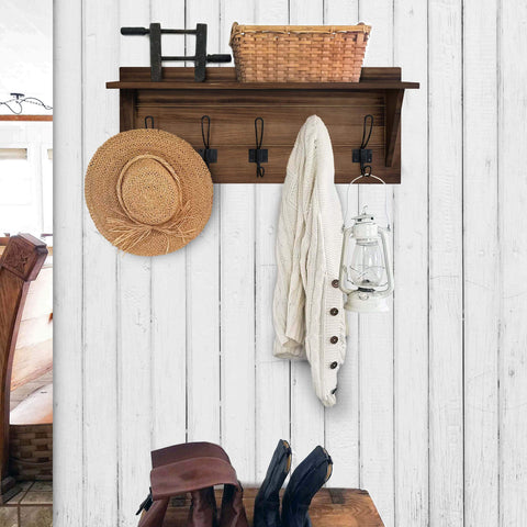 Rustic Wall Mounted Coat Rack Shelf - Brown