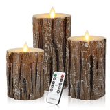 Rustic Log Flameless Candles Flickering Decorative LED Remote