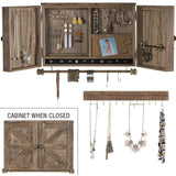 Barndoor Wood Jewelry Organizer Rustic Wall Mounted Hooks Hanging Bar Country