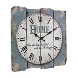 "Rustic Country Worn Blue 15"" Square White Wall Clock"