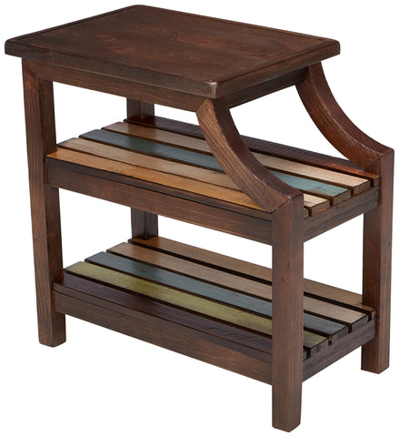 Country Rustic Chair Side End Table Brown W/ Multi-Colored Shelves