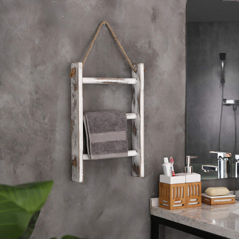 Rustic 3-Tier Wood Wall-Hanging Towel Storage Ladder with Rope