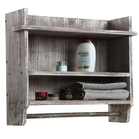 Rustic Wood Bathroom Organizer Rack with 3 Shelves and Hanging Towel Bar