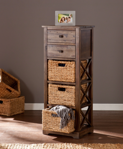 Storage Shelves With Baskets Bins Drawers Cabinet