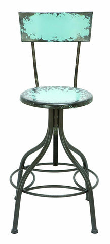Distressed Painted Metal Bar Stool Blue