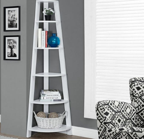 Corner Tiered Bookcase Shelving Unit White