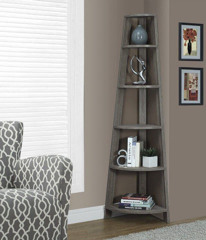 Dark Gray Taupe Reclaimed Wood Corner Bookcase