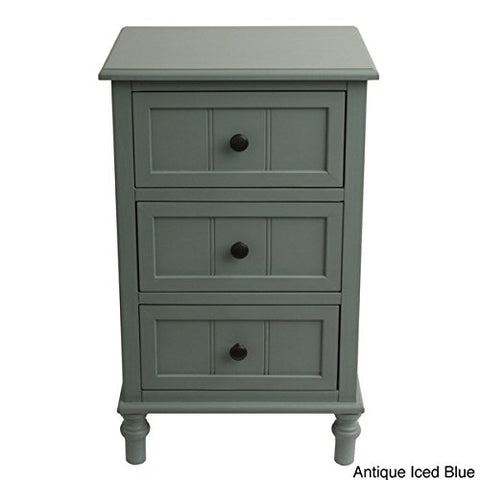 Country Rustic 3 Drawer Chest Nightstand End Table Antique Blue Painted Finish