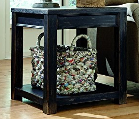 Timber End Table Black Reclaimed Distressed Wood