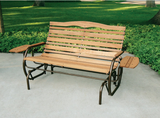 Double Seat Outdoor Patio Glider Wood