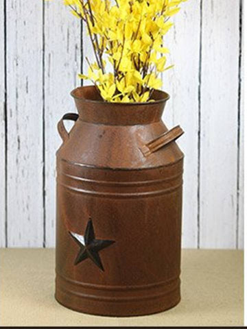 Texas Star Steel Milk Can Container Vase