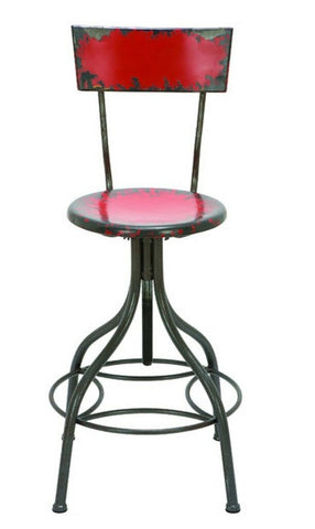 Metal Bar Stool Adjustable Height Red