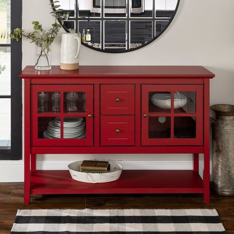 Rustic Antique Country Red Dining Buffet Glass Doors