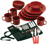 Rustic Coleman Red Speckled Enamel Dinnerware Set