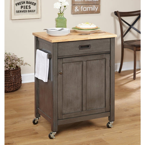 Rustic Wood Rolling Kitchen Cart