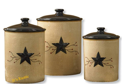 Country Canister Set Black Star with Red Berry Vine