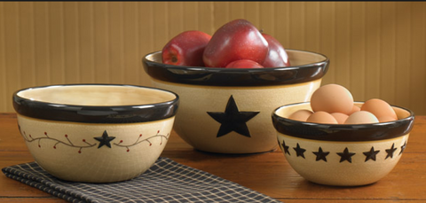 Country Mixing Bowl Set Black Star Rustic Red Berry Vine