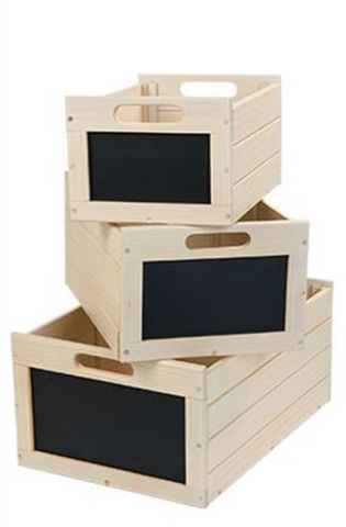 Wood Nesting Boxes with Chalkboard Front Antique White