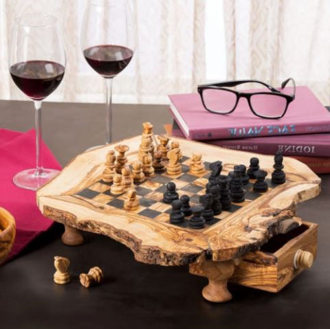 Wood Chess Board Set Hand Carved