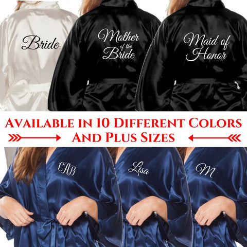 Monogrammed Satin Bridesmaid Robes