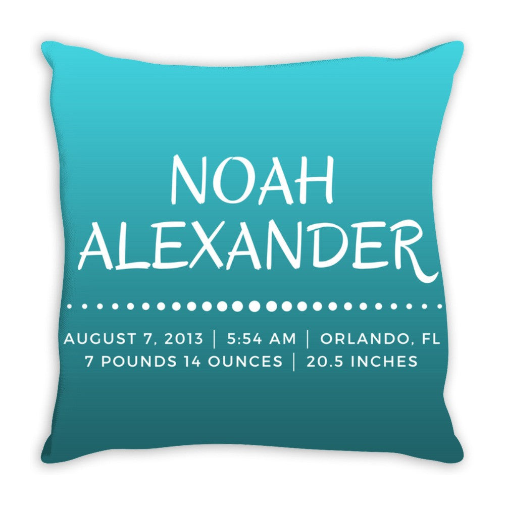 Personalized Birth Announcement Pillow Gift