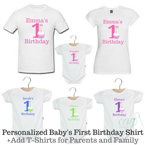 Personalized Baby First Birthday Bodysuit or T-Shirts