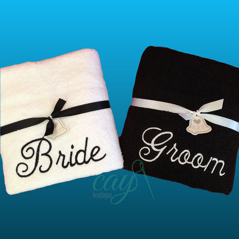 Set of 2 Bride & Groom Bath/Beach Towels