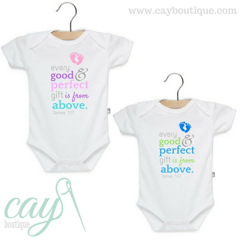 Christian Baby Bodysuit James 1:17 Every good and perfect gift is from above.