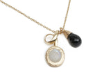 Black Onyx and Rainbow Moonstone Necklace