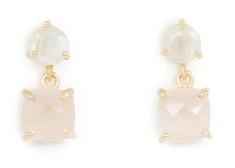 ROSE QUARTZ DETAIL EARRINGS