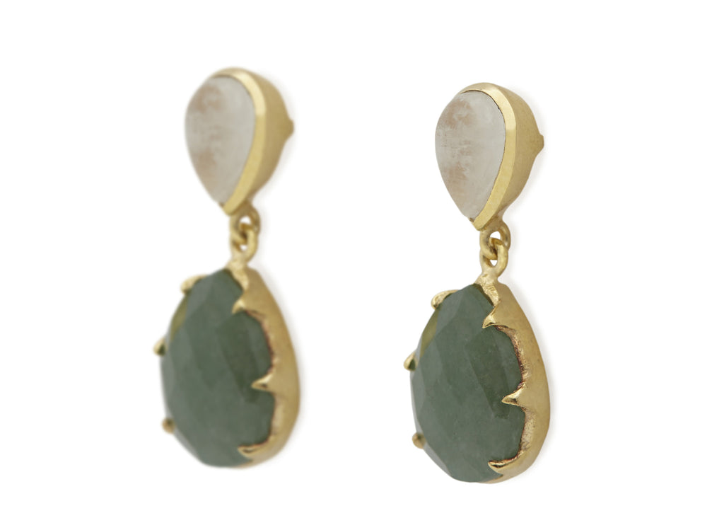 Aventurine and Rainbow Moonstone Earrings