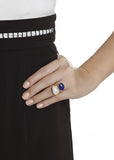 Moonstone and Lapis Ring