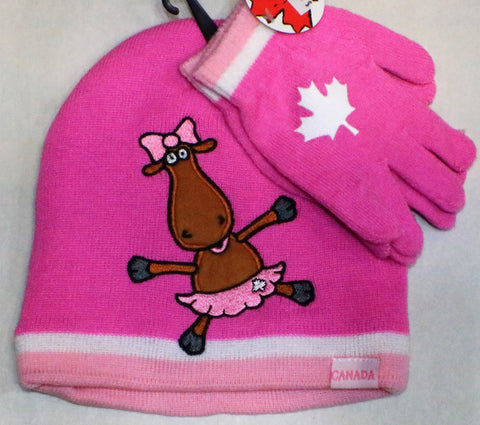 Canada Pink Moose Toque Beanie Set with Gloves