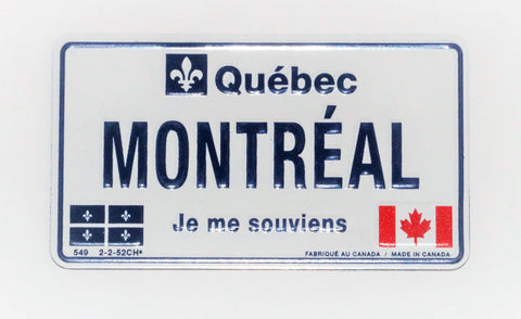 Montreal Quebec License Plate Metal  Fridge Magnet