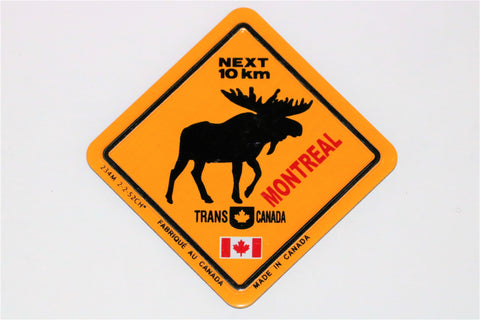 Moose  Crossing Caution Sign Fridge Magnet