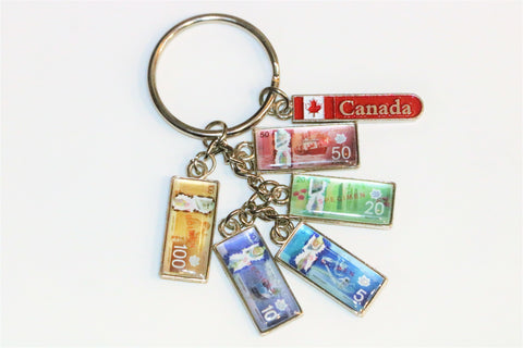Canadian Flag with Canadian Dollar Bills Keychain