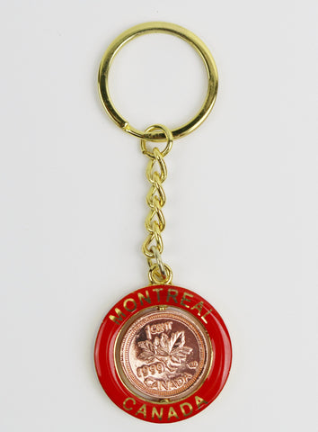 Montreal with Canadian Penny Souvenir Keychain