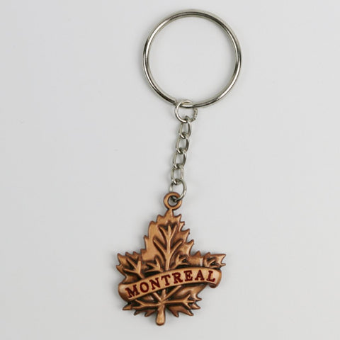 Silver or Bronze color  Maple Leaf Montreal Souvenir Keychain