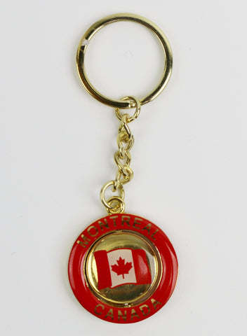 Montreal with Flag of Canada Red Souvenir Keychain