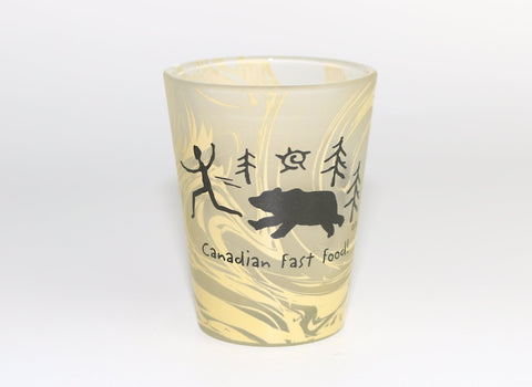 Canadian Fast Food Frosted Bear Silhouette Shot Glass Souvenir