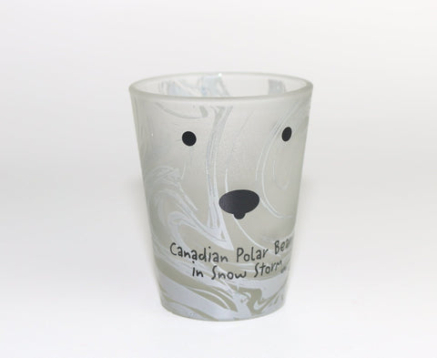 Canadian Polar Bear in Snow Storm Frosted Shot Glass Souvenir
